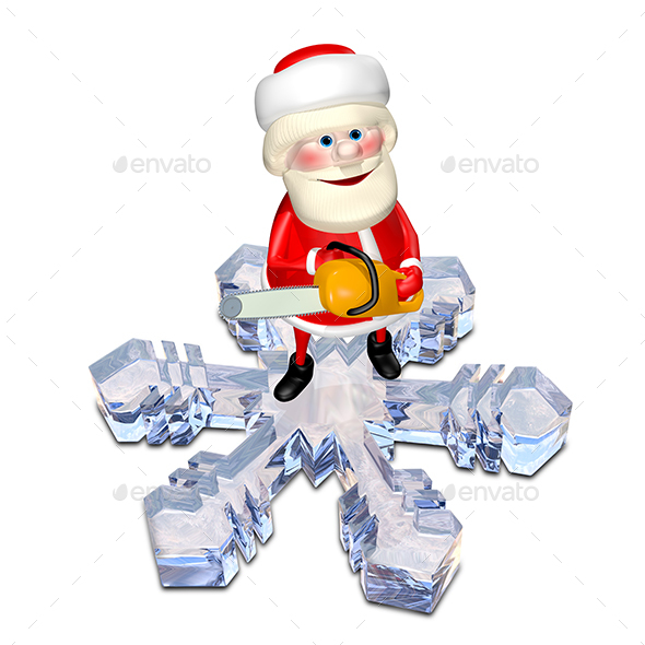 3D Illustration of Santa Claus on a Snowflake - Characters 3D Renders