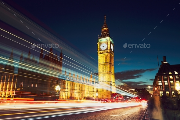 Westminster bridge at the dusk - Stock Photo - Images