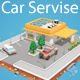 Low Poly Car Service (gas station) - 3DOcean Item for Sale