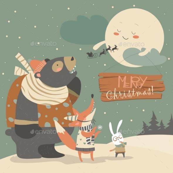 Bear,rabbit And Fox Watching The Moon - Christmas Seasons/Holidays