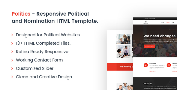 Politics – Responsive Political and Nomination HTML Template