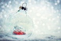 Christmas glass ball in snow with miniature winter world inside - PhotoDune Item for Sale