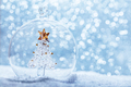 Christmas glass ball with crystal tree inside in snow - PhotoDune Item for Sale