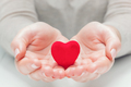 Small red heart in woman's hands in a gesture of giving, protecting - PhotoDune Item for Sale