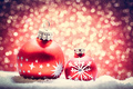 Christmas glass ball in snow. Glitter background - PhotoDune Item for Sale