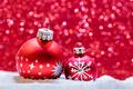 Christmas glass balls in snow. Glitter background - PhotoDune Item for Sale