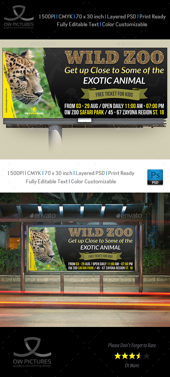 Zoo Billboard Template - Signage Print Templates