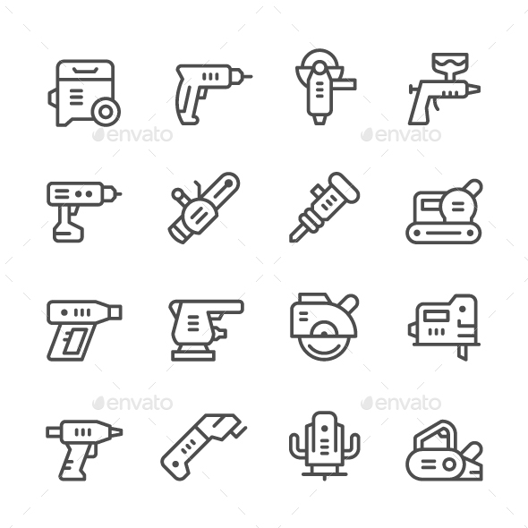 Set Line Icons of Electric Tools - Man-made objects Objects