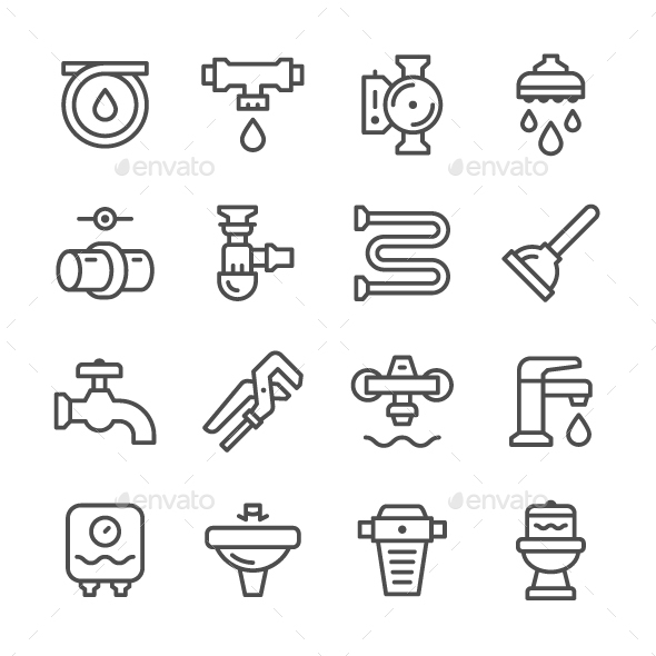 Set Line Icons of Plumbing - Man-made objects Objects