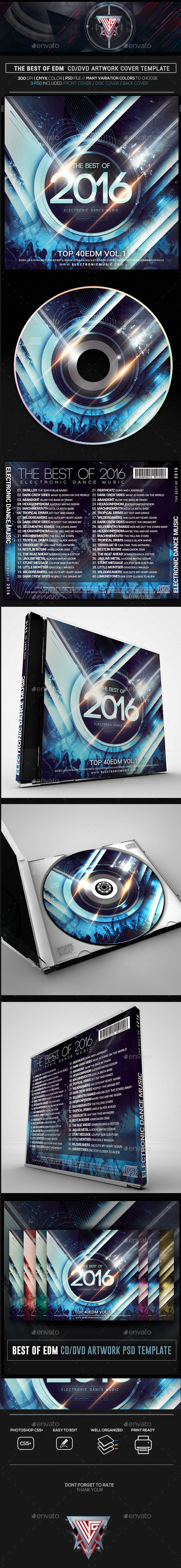 EDM 2016 CD/DVD Template - CD & DVD Artwork Print Templates