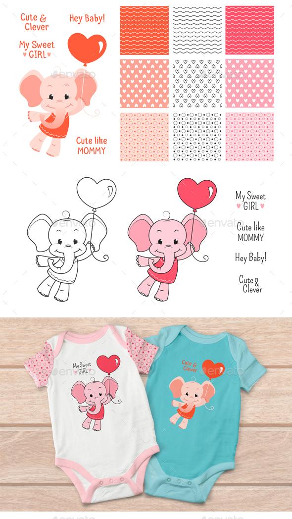 Baby Elephant Design Set - Decorative Vectors