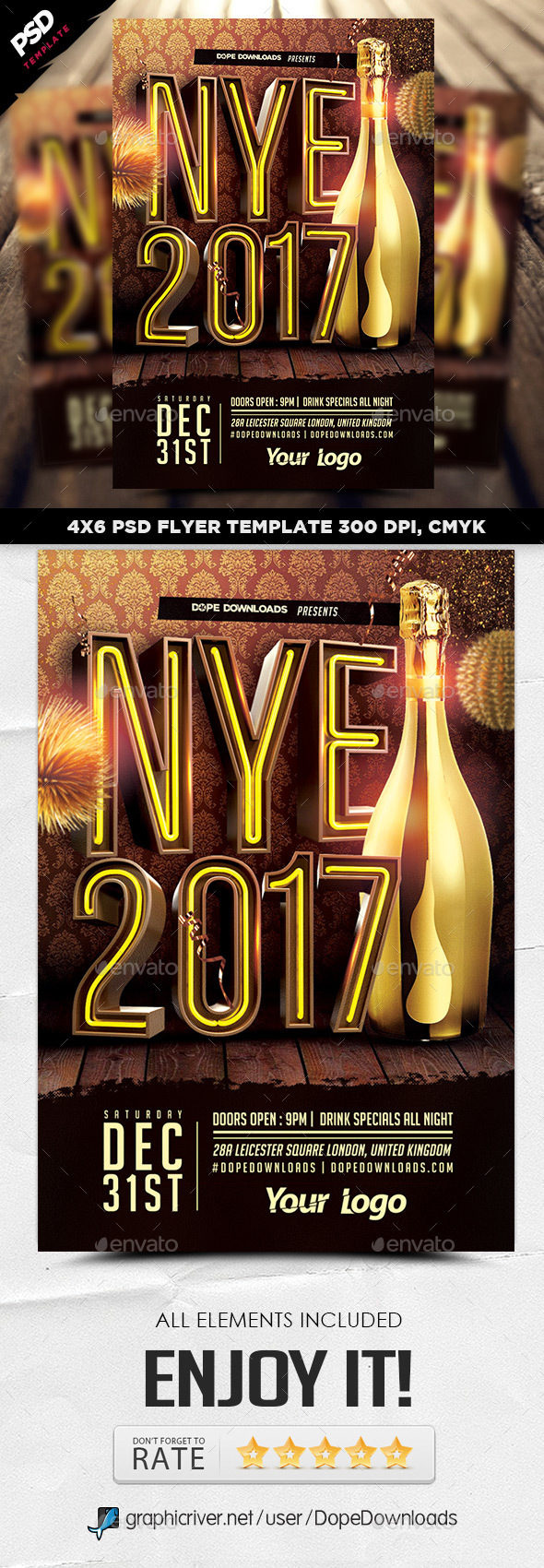 NYE 2017 3D Flyer Template - Holidays Events
