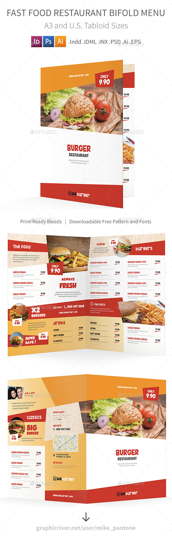 Fast Food Restaurant Bifold / Halffold Menu - Food Menus Print Templates