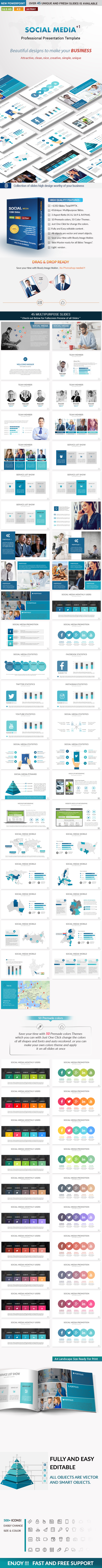Social media Business PowerPoint Presentation Template - Business PowerPoint Templates