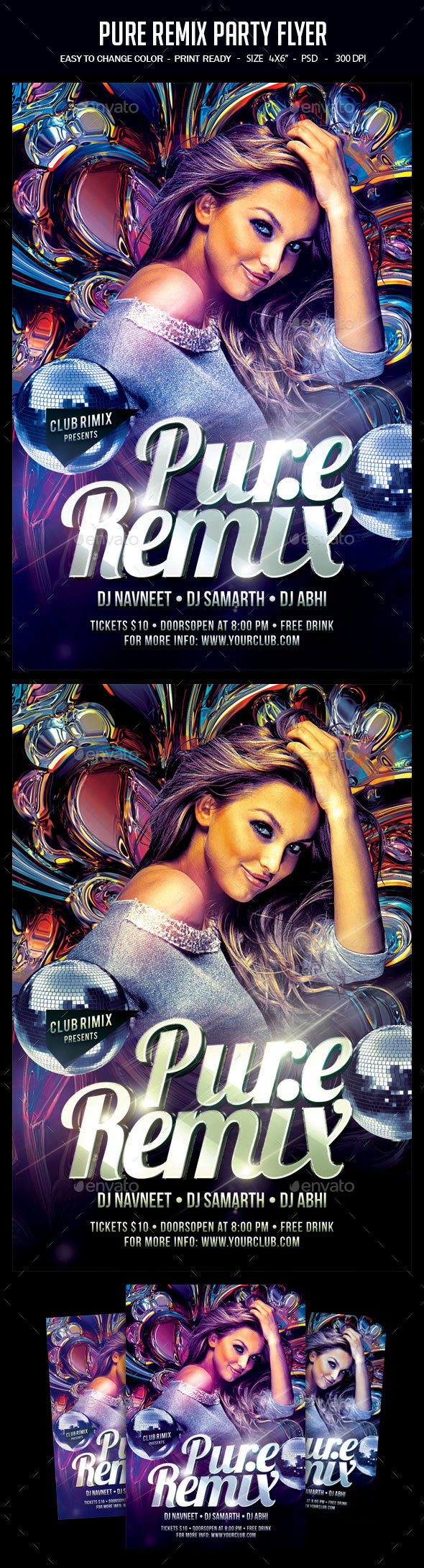 Pure Remix Party Flyer - Clubs & Parties Events