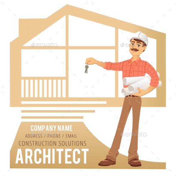Architect in Helmet with Blueprints and Keys - People Characters