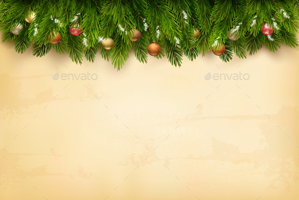 Decorated Christmas Tree Branches on an Old Paper - Christmas Seasons/Holidays