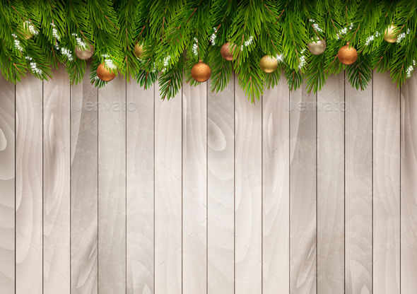 Christmas Tree Branches With Baubles On a Wooden Sign - Christmas Seasons/Holidays