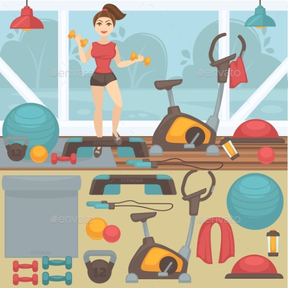 Fitness Equipment And Gym Interior. - Sports/Activity Conceptual