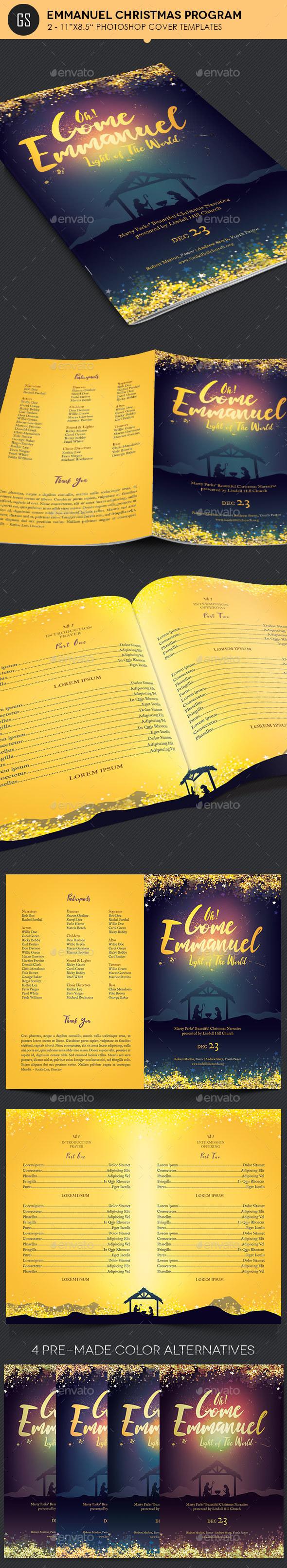 Emmanuel Christmas Cantata Program Template - Informational Brochures