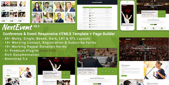 NextEvent – Conference & Event Responsive HTML5 Template
