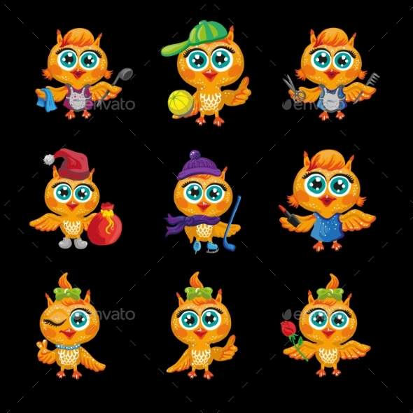 Vector Set Of Cute Owls. Cartoon Characters - People Characters