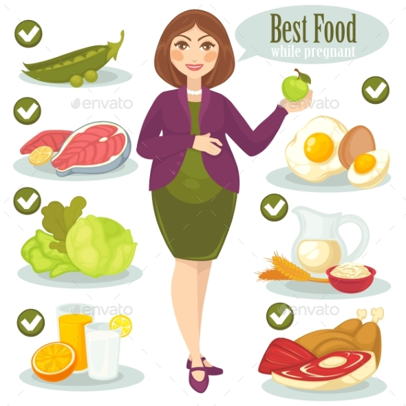 Woman, Healthy Food For Pregnant. - Food Objects