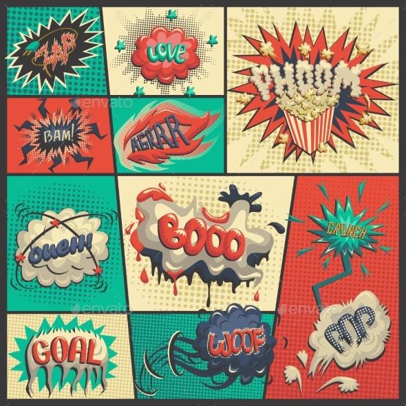 Vector Set Of Comics Icons - Decorative Symbols Decorative