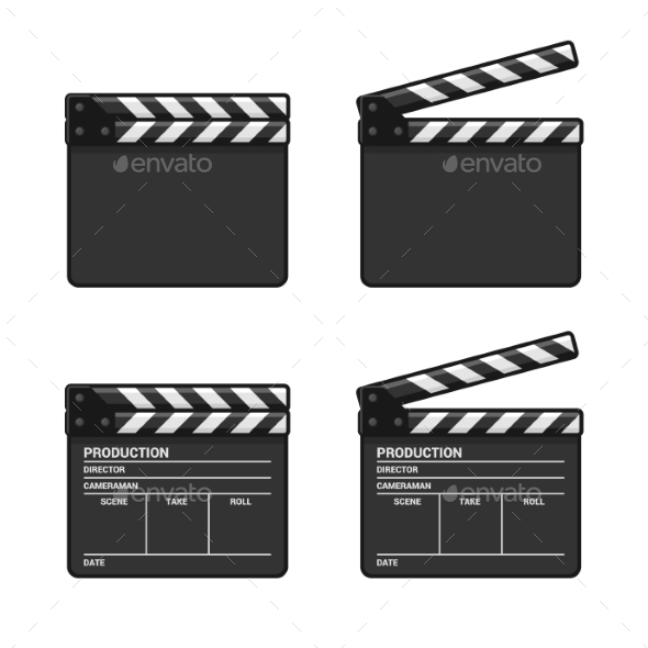 Blank Clapper Board Set on White Background - Decorative Symbols Decorative