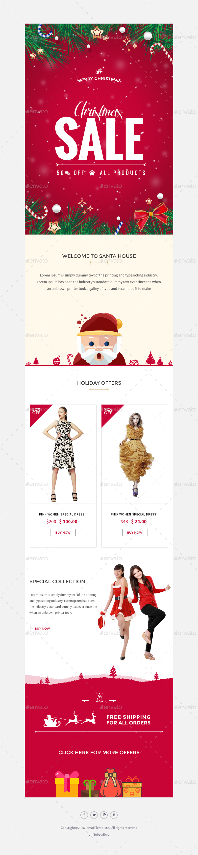 Christmas - Offers/Greetings Email Template PSD by Kalanidhithemes