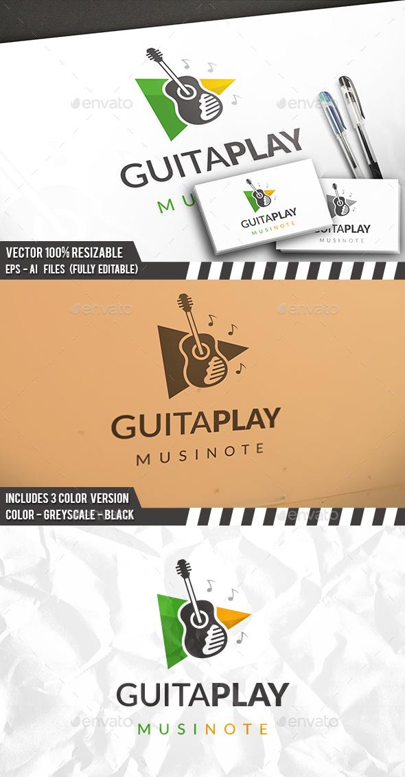 Play Guitar Logo - Objects Logo Templates