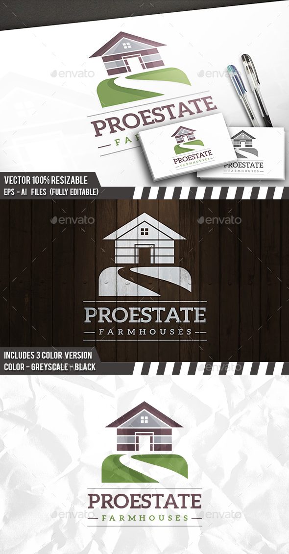 Farming House Logo - Buildings Logo Templates