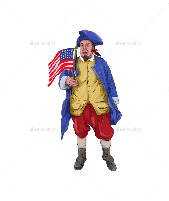 American Patriot Shouting Holding Flag Watercolor - People Characters