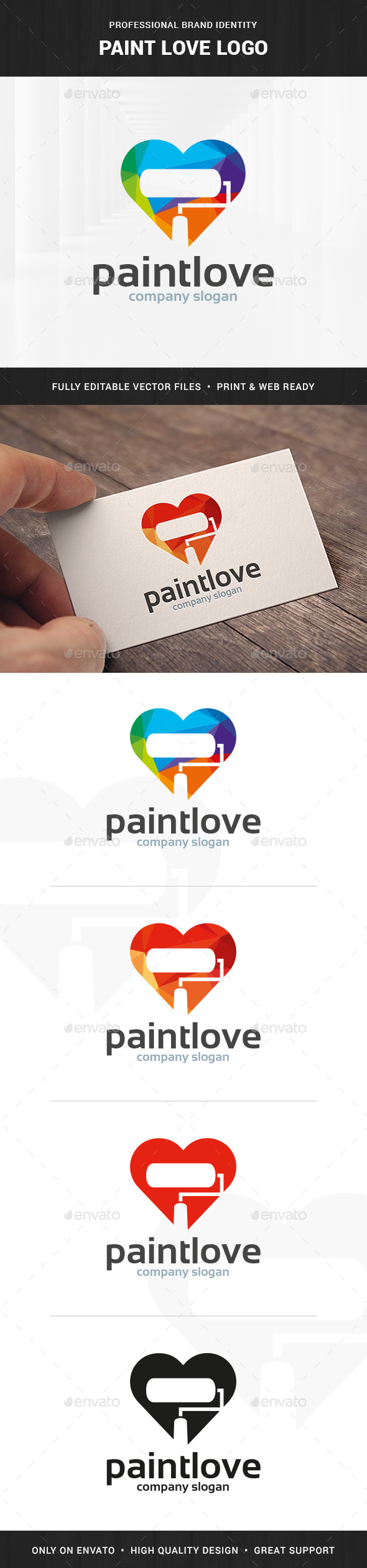 Paint Love Logo Template - Objects Logo Templates