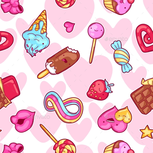 Seamless Kawaii Pattern With Sweets And Candies - Patterns Decorative