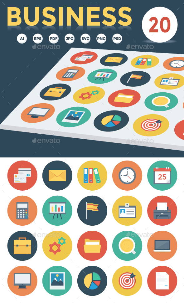 20 Business Flat Icons - Business Icons