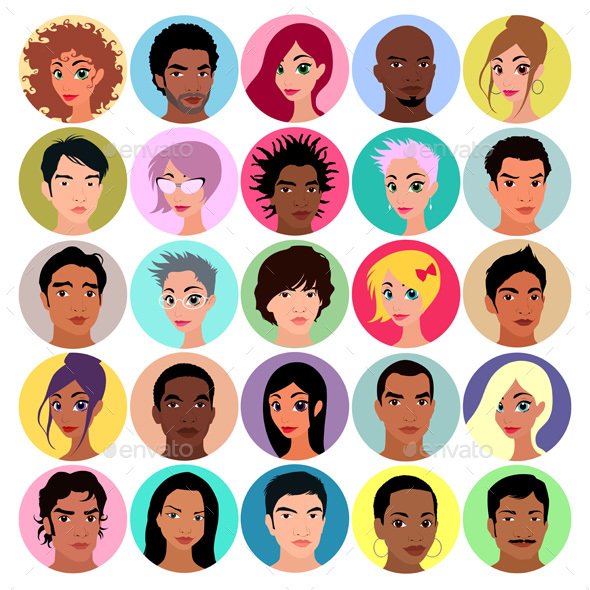 Collection of Female and Male Avatars - People Characters