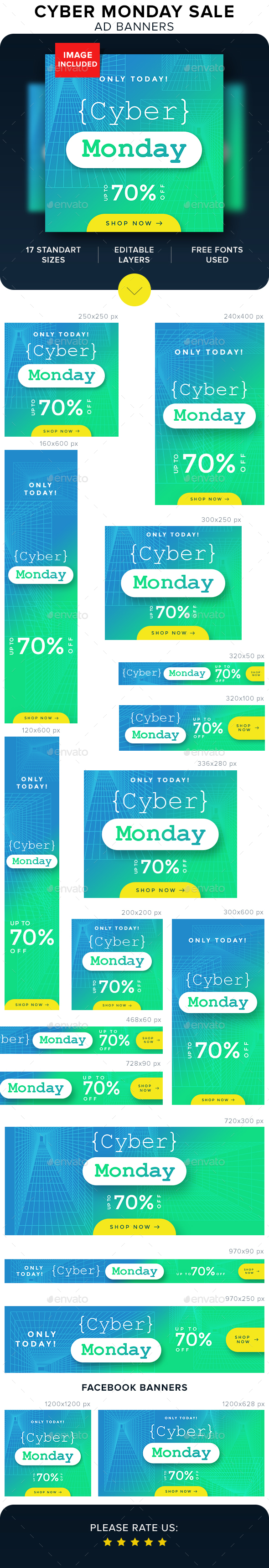 Cyber Monday Sale Banners - Banners & Ads Web Elements