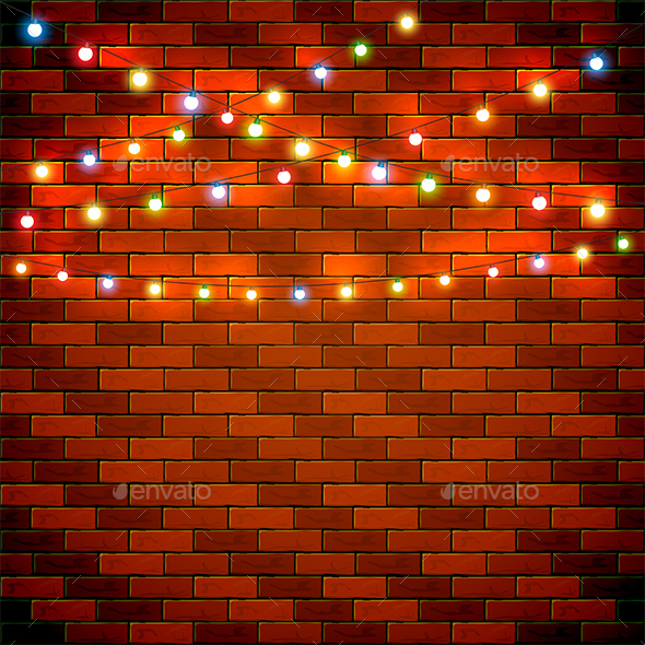 Christmas Background with Colorful Lights on Brick Wall - Christmas Seasons/Holidays
