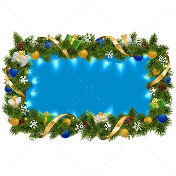 Vector Blue Fir Frame with Garland - Christmas Seasons/Holidays