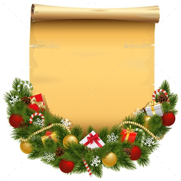 Vector Christmas Decoration with Scroll - Christmas Seasons/Holidays