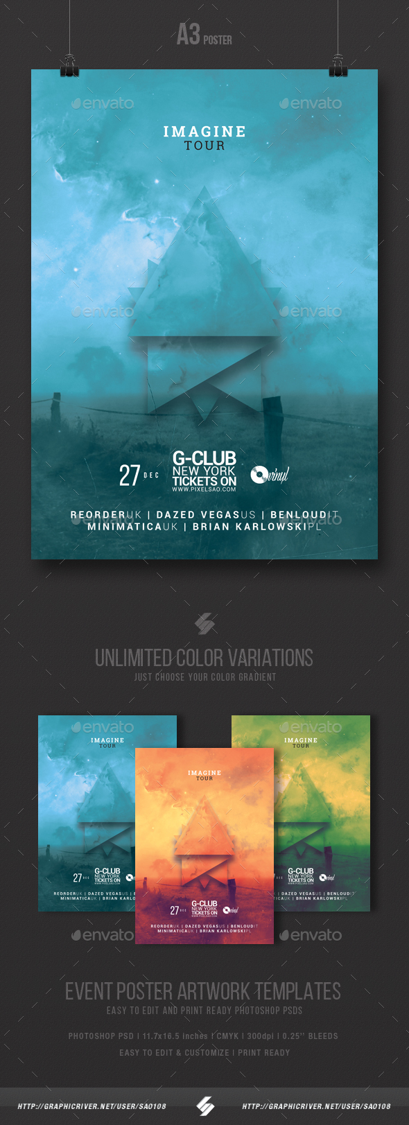 Imagine Tour - Minimal Party Flyer / Poster Template A3 - Clubs & Parties Events