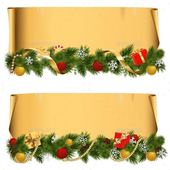 Vector Christmas Scroll Set 1 - Christmas Seasons/Holidays