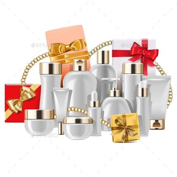Vector Cosmetic Packaging with Gifts - Health/Medicine Conceptual