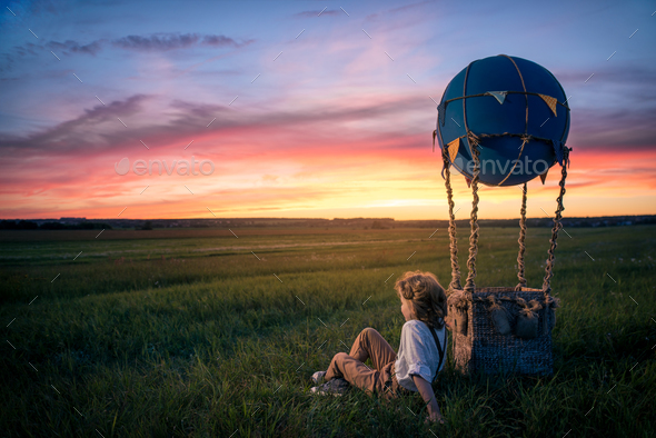 Little boy with aerostat - Stock Photo - Images