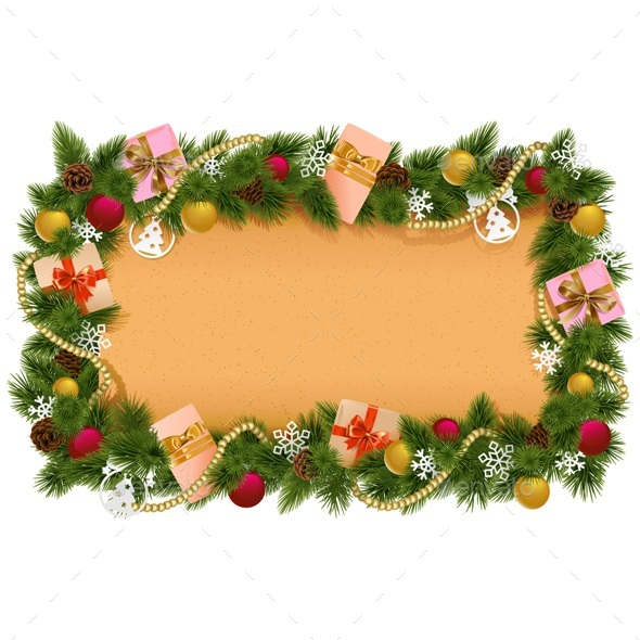 Vector Fir Frame with Paper Scroll - Christmas Seasons/Holidays