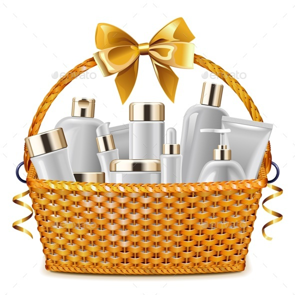 Vector Gift Basket with Cosmetic Packaging - Retail Commercial / Shopping