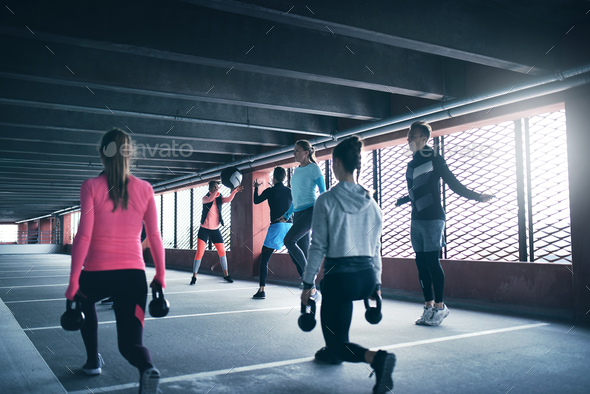 Group of people working out - Stock Photo - Images