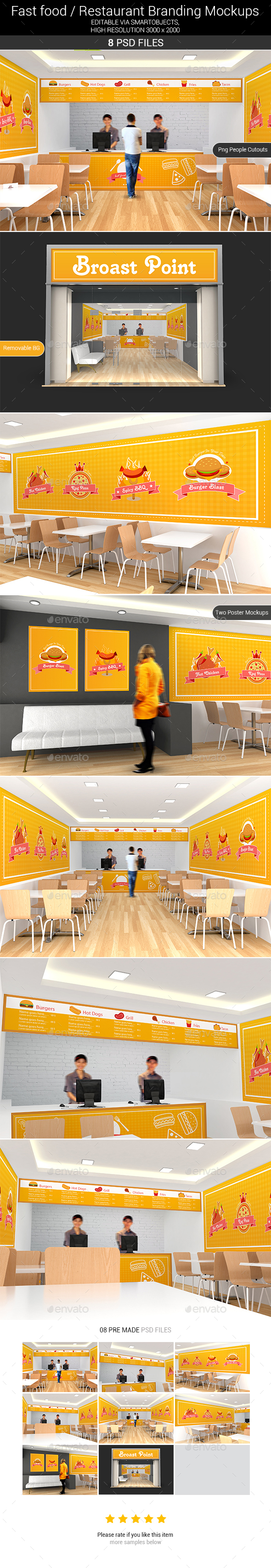 Fast food / Restaurant Branding Mockups - Product Mock-Ups Graphics