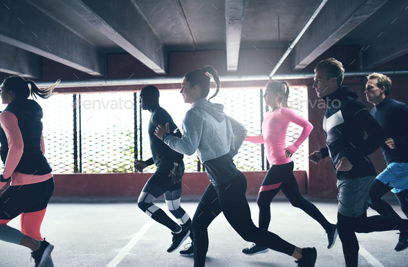 Group of athletes running. - Stock Photo - Images